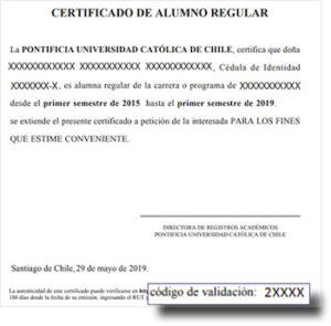 certificado alumno regular chile