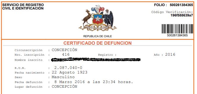 certificado de defuncion en chile