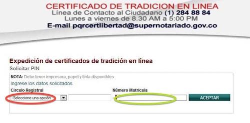 certificado de tradicion