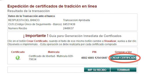 crear certificado de tradicion