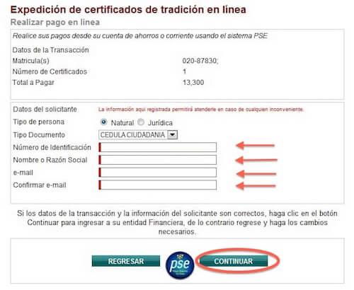 pago certificado de tradicion