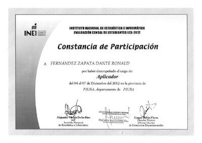 certificado censal del INEI