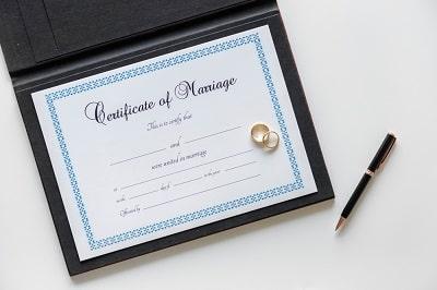 datos que se visualizan en el Certificado de Matrimonio