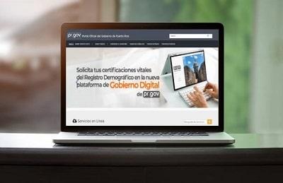 página web del Gobierno de Puerto Rico