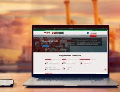 página web del Sistema de la Ventanilla Única de Comercio Exterior del Perú (VUCE)